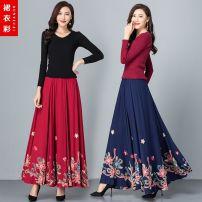 skirt Autumn 2020 S. M, l, XL, 2XL, custom shot longuette commute High waist A-line skirt Decor Type A 40-49 years old 31% (inclusive) - 50% (inclusive) other cotton Ruffle, pocket, print, elastic waist Retro 351g / m ^ 2 (including) - 400g / m ^ 2 (including)