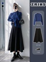 Cosplay women's wear jacket goods in stock Over 14 years old Black tweed medium length umbrella skirt comic S,L,M