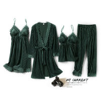 Pajamas / housewear set female Other / other M,L,XL,XXL other Long sleeves sexy Leisure home autumn thickening V-neck Solid color trousers Tether youth rubber string Velvet lace Middle-skirt