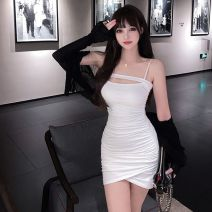 Dress Autumn 2020 White suspender skirt, blue suspender skirt, black coat + white suspender skirt, white coat + blue suspender skirt, white cardigan, black cardigan S,M,L Short skirt Two piece set Sleeveless commute One word collar High waist Solid color Socket One pace skirt other camisole Type X