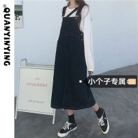 Dress Summer 2021 navy blue XS S M L Mid length dress singleton  Sleeveless commute One word collar High waist Solid color A-line skirt straps 18-24 years old Quan Yin Ying Korean version More than 95% Denim other Other 100% Pure e-commerce (online only)