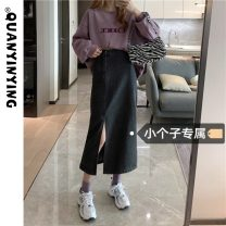 skirt Summer 2021 S M L XS Black dark blue Mid length dress commute High waist Denim skirt Solid color Type A 18-24 years old More than 95% Denim Quan Yin Ying other Asymmetry Korean version Other 100% Pure e-commerce (online only)