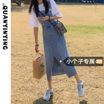 Dress Summer 2021 Blue grey S M L XS Miniskirt singleton  Sleeveless commute One word collar High waist Solid color Socket A-line skirt straps 18-24 years old Type A Quan Yin Ying Korean version pocket 6090 in stock More than 95% Denim other Other 100% Pure e-commerce (online only)