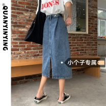 skirt Spring 2021 XS S M L Small blue, regular blue Mid length dress commute High waist A-line skirt Solid color Type A 18-24 years old More than 95% Denim Quan Yin Ying other Other 100% Pure e-commerce (online only)