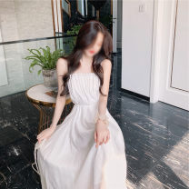 Dress Summer 2021 White, black S,M,L longuette singleton  Sleeveless commute One word collar High waist Solid color Socket A-line skirt routine camisole 18-24 years old Type A Other / other Korean version fold 31% (inclusive) - 50% (inclusive) other other