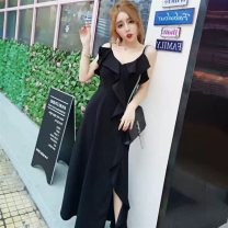 Dress Summer of 2019 longuette Sleeveless commute V-neck High waist Solid color Condom A-line skirt routine camisole 18-24 years old Type A Shu Yu Korean version Open back, Auricularia auricula, splicing, asymmetry brocade S,M,L Red, black