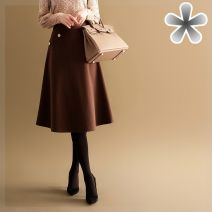 skirt Winter 2020 S,M,L,XL,XXL T33 - Coffee color , T28 - Q - black longuette commute High waist A-line skirt Solid color Type A 25-29 years old 81% (inclusive) - 90% (inclusive) Wool Other / other polyester fiber Button, pocket 101g / m ^ 2 (including) - 120g / m ^ 2 (including)