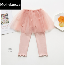 trousers Other / other female 100cm,110cm,120cm,130cm,140cm Pink, light purple, black, gray, light gray, Navy, elegant black, light pink, graffiti black, medium pink, leisure gray spring and autumn trousers Korean version There are models in the real shooting Leggings Leather belt middle-waisted