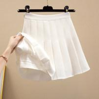 skirt Summer 2021 XS,S,M,L,XL,XXL Apricot, white, black, coffee Short skirt commute High waist A-line skirt Solid color Type A More than 95% other Ocnltiy other Pleated, zipper Korean version
