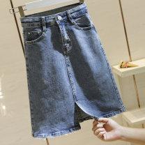 skirt Summer 2021 S,M,L,XL blue longuette commute High waist A-line skirt Solid color Type A 51% (inclusive) - 70% (inclusive) Denim Ocnltiy other Pocket, button, zipper Korean version