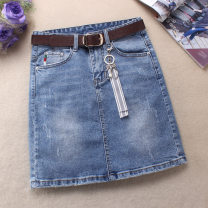 skirt Summer 2021 S. M, l, XL, 2XL, 3XL, the above suggested sizes are for reference only Blue, light blue, black Short skirt commute High waist Denim skirt Solid color Type A 51% (inclusive) - 70% (inclusive) Denim Ocnltiy cotton Hand worn, pleated, pocket Simplicity