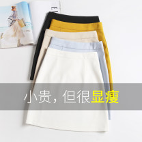 skirt Summer 2021 25 / XS 1 foot 8,26 / S 1 foot 9,27 / M 2 feet, 28 / L 2 foot 1,29 / XL 2 foot 2,30 / 2XL 2 foot 3,31 / 3XL 2 foot 4 Black, yellow, white, apricot, gray, green, blue, purple, light yellow Short skirt Versatile High waist A-line skirt Solid color Type A Ocnltiy polyester fiber zipper