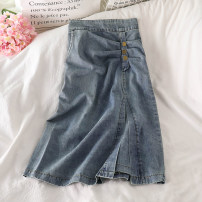 skirt Summer 2021 S,M,L longuette commute High waist Denim skirt Solid color Type A other Ocnltiy Korean version
