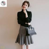 skirt Winter 2020 M,L,XL,2XL,3XL houndstooth  longuette grace High waist skirt houndstooth  Wool other Panel, zipper