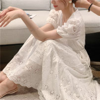Women's large Summer 2021 Khaki blue purple first love white S M L Dress singleton  commute Conjoined Korean version V-neck routine other routine Shengduo 25-29 years old Embroidery longuette Other 100% Pure e-commerce (online only) Princess Dress