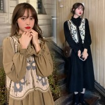 Dress Other / other Blue, light green, violet, black dress + black vest (suit), khaki dress + Khaki vest (suit), black vest (single piece), khaki vest (single piece), black dress (single piece), khaki dress (single piece), many new products XXL,XL,L,M Korean version Long sleeves winter other