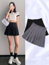 skirt Autumn of 2018 S,M,L,XL,XXL Black, gray, white, blue, pink, black polka, apricot polka, black tweed, gray tweed Short skirt Versatile High waist Pleated skirt Type A 18-24 years old Cornelia
