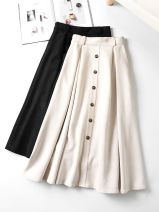 skirt Autumn 2020 XS,S,M,L,XL,2XL Black spot, apricot spot Mid length dress commute High waist A-line skirt Solid color Type A 25-29 years old yz5206 More than 95% Yizhi polyester fiber Button Korean version