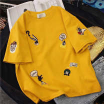 T-shirt White, yellow, black XL,2XL,L,M Winter of 2018 Short sleeve Crew neck easy Regular routine commute polyester fiber 71% (inclusive) - 85% (inclusive) 18-24 years old Korean version love Solid color, stitching Yin Mengting Splicing, hollowing out