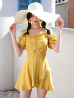 one piece  other S [recommended 80-90 kg], m [recommended 90-100 kg], l [recommended 100-110 kg], XL [recommended 110-120 kg], XXL [recommended 120-130 kg], XXXL [recommended 130-140 kg] Skirt one piece With chest pad without steel support Polyester, others female Sleeveless Casual swimsuit Pleating