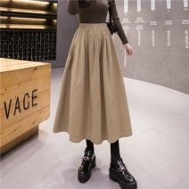 skirt Spring 2021 S 85-95, m 95-105, l 105-115, XL 115-128 Khaki, dark green, black Mid length dress Versatile High waist A-line skirt Solid color Type A 25-29 years old Fangfei in March brocade cotton Folds, pockets
