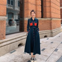 Dress Spring 2021 Navy Blue S,M,L,XL longuette singleton  Long sleeves commute Polo collar High waist Solid color Single breasted A-line skirt routine Others 25-29 years old Type A Korean version Button More than 95% other polyester fiber