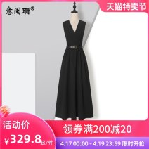 Dress Summer 2021 Black, red, blue S M L XL 2XL 3XL Mid length dress singleton  Sleeveless commute V-neck High waist Solid color Socket A-line skirt other Others 25-29 years old Type A I'm in a state of depression Korean version Lace up zipper resin fixation 3D LYQ0010 More than 95% polyester fiber