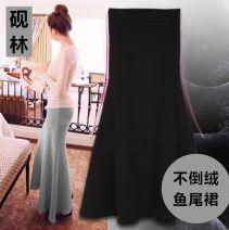 skirt Spring 2021 S (skirt length 85CM), s (skirt length 90cm), l (skirt length 85CM), l (skirt length 93cm), XL (skirt length 85CM), XL (skirt length 93cm), XXL (skirt length 85CM), XXL (skirt length 93cm) Black, dark grey, dark green, hemp grey, thin black longuette commute High waist skirt Type H