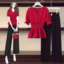 Women's large Summer 2021 Red (tmall high quality) L XL 2XL 3XL 4XL trousers Two piece set commute Self cultivation Socket lady V-neck routine polyester Oberzo Other 100% Pure e-commerce (online only)