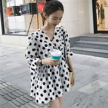 Dress Summer 2021 White black S M L XL Short skirt singleton  elbow sleeve commute V-neck Loose waist Dot Socket A-line skirt routine Others 18-24 years old Type A Yingyuqin Korean version Resin fixation XYB-1055 More than 95% Chiffon other Other 100% Pure e-commerce (online only)