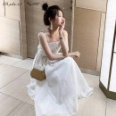 Dress Summer 2021 White black S M L XL Mid length dress singleton  Sleeveless commute One word collar High waist Solid color Socket A-line skirt routine camisole 18-24 years old Type A Yingyuqin Korean version backless XYB-1667 More than 95% other other Other 100% Pure e-commerce (online only)