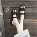 Sandals 35,36,37,38,39,40 Black, apricot, black upgrade, apricot upgrade Suede Daphne's recommendation Barefoot Flat bottom Low heel (1-3cm) Summer 2020 Trochanter Korean version Solid color Adhesive shoes Youth (18-40 years old) rubber daily Rear trip strap Lateral space A20DDYX7Q902 Fashion sandals