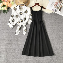 Dress Summer 2021 Black, Burgundy, pink S,M,L Mid length dress Two piece set Sleeveless commute Polo collar Elastic waist Solid color Socket A-line skirt routine camisole 18-24 years old Type A Other / other 31% (inclusive) - 50% (inclusive) Chiffon polyester fiber