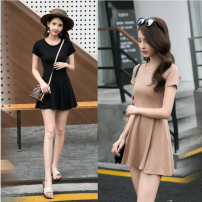 Dress Summer 2021 Black, apricot S,M,L,XL,2XL Short skirt singleton  Short sleeve commute Crew neck High waist Solid color Socket A-line skirt routine Others Type A Korean version 3D 31% (inclusive) - 50% (inclusive)