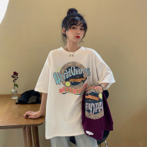 T-shirt White, purple Average size Spring 2021 Short sleeve Crew neck easy Regular routine commute other 96% and above 18-24 years old Retro youth letter ONLY PERTECT printing