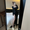 Dress Spring 2021 Lemon yellow, black Average size longuette singleton  Long sleeves commute Solid color routine 18-24 years old ONLY PERTECT Korean version