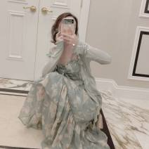 Dress Summer 2021 Emerald green one-piece dress, light green one-piece raincoat, skirt + raincoat two-piece set S 70-95, m 95-105, l 105-120, XL 120-130, 2XL 130-140 longuette Two piece set Short sleeve commute square neck middle-waisted Broken flowers Socket A-line skirt routine Others Type A other