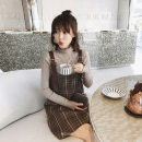 Dress Spring 2021 Dress + sweater M.,L.,S.,XL. Short skirt Two piece set Long sleeves commute High collar Loose waist lattice Socket One pace skirt routine Others 18-24 years old Type H One for one Stitching, 3D other