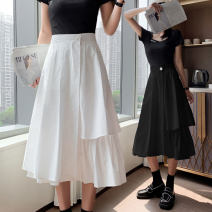 skirt Summer 2021 S M L XL White black Mid length dress Versatile High waist A-line skirt Solid color Type A LYY21-9361 More than 95% other Li Yinyan other Button Other 100% Pure e-commerce (online only)