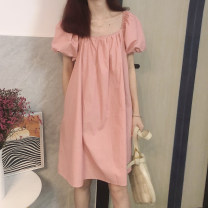 Dress Summer 2021 Pink, black Average size Mid length dress singleton  Short sleeve commute square neck Loose waist Solid color A-line skirt puff sleeve Others 18-24 years old Type H Other / other Korean version 31% (inclusive) - 50% (inclusive) cotton