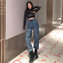 T-shirt Smock + hot drill sling gradient overalls smock + hot drill sling + gradient overalls S M L XL Spring 2021 Long sleeves Crew neck Two piece set have cash less than that is registered in the accounts routine street other 96% and above 18-24 years old youth Solid color mosaic Meow dodder