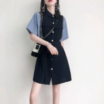 Dress Summer 2021 Black, Navy, khaki S,M,L,XL Mid length dress singleton  Short sleeve commute Polo collar High waist other Socket A-line skirt routine 25-29 years old Type A VALVOELITE Korean version Tie, splice, threaded QWER1 91% (inclusive) - 95% (inclusive) knitting cotton