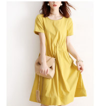 skirt Summer 2021 S,M,L,XL yellow Mid length dress commute High waist A-line skirt Solid color Type A 30-34 years old WDHEW 91% (inclusive) - 95% (inclusive) knitting VALVOELITE polyester fiber Korean version