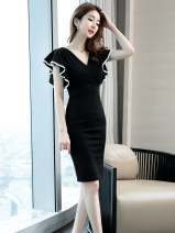 Dress Summer 2021 black S,M,L,XL,2XL Mid length dress singleton  Sleeveless commute V-neck middle-waisted Solid color Socket A-line skirt other Others 30-34 years old Type A VALVOELITE Korean version fold WDHEW 91% (inclusive) - 95% (inclusive) Chiffon polyester fiber