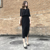 skirt Summer 2021 S,M,L,XL,2XL black Mid length dress commute High waist A-line skirt Solid color Type A 30-34 years old WDHEW 91% (inclusive) - 95% (inclusive) brocade VALVOELITE polyester fiber Fold, lace up Korean version
