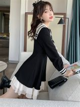 Women's large Autumn 2020 Black dress S,M,L,XL Dress singleton  Sweet Self cultivation moderate Socket Long sleeves Solid color Admiral have cash less than that is registered in the accounts polyester fiber Collage routine C1098 Tact 18-24 years old Three dimensional decoration Short skirt bow zipper