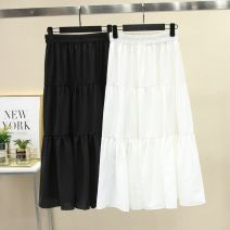 skirt Spring 2021 One size elastic waist - double layer anti penetration Black, white longuette commute High waist Ruffle Skirt Solid color Type A 18-24 years old 81% (inclusive) - 90% (inclusive) Other / other other Korean version