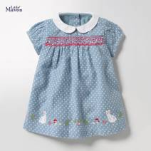 Dress blue female Other / other The recommended height is 80-85cm for 2T, 90-95cm for 3T, 95-100cm for 4T, 100-110cm for 5T, 110-120cm for 6T and 120-130cm for 7T Cotton 95% polyurethane elastic fiber (spandex) 5% summer leisure time Short sleeve Dot cotton A-line skirt Chinese Mainland