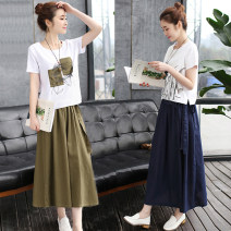 Dress Summer 2020 Army green [skirt] + Top , Navy [skirt] + Top , Single green skirt , Single green top [collect and deliver first] , Single blue skirt , Single blue jacket longuette Two piece set Short sleeve commute Crew neck Elastic waist Hand painted Socket A-line skirt routine Others Type A bow