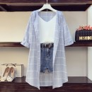 Women's large Spring 2020 Blue [three piece suit], blue [single shirt], shirt with sling, single denim shorts with belt Other oversize styles Three piece set commute easy moderate Korean version Three dimensional cutting C19 Damoda / yaotaiping bird shorts